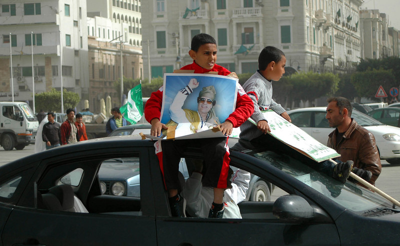 Tripoli: pro-Qaddafi rally, Green Square, February 18, 2011, three days before anti-government protestors seized the square, touching off a violent response from the Qaddafi regime.