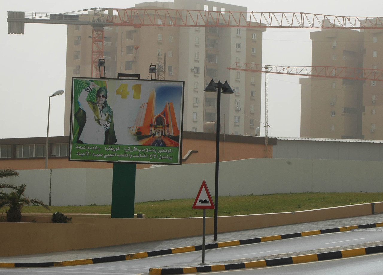 """Tripoli. The billboard's """"41"""" refers to the forty-one years of Qaddafi's rule, from the revolution in 1969 that ousted King Idris and the monarchy."""