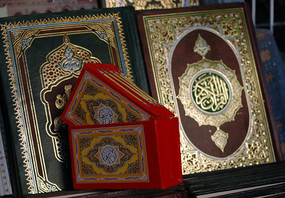 Benghazi: Korans displayed in the old city market