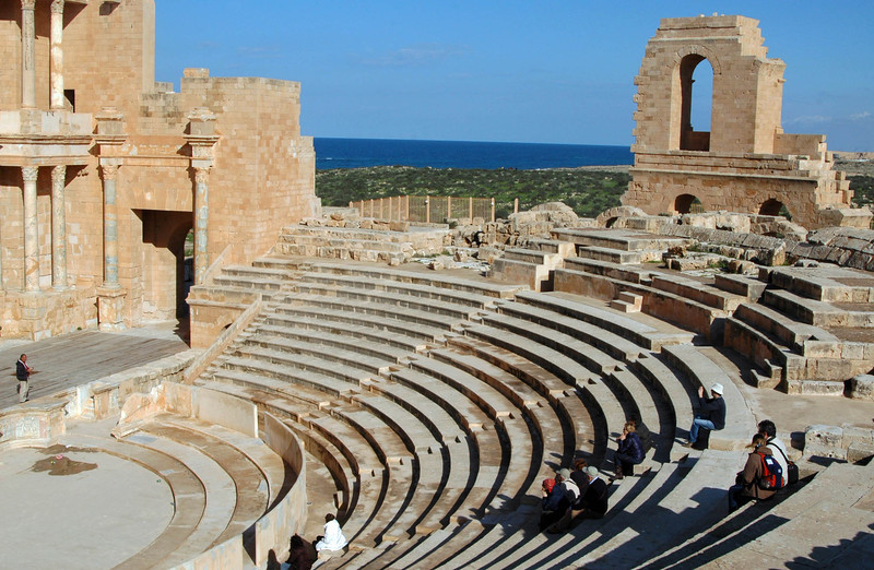 Sabratha: Theater, Roman 2nd century A.D. The theater at Sabratha is the largest in Africa and could seat five thousand spectators. Partially restored in the 1920's, it's still in use during the summer.