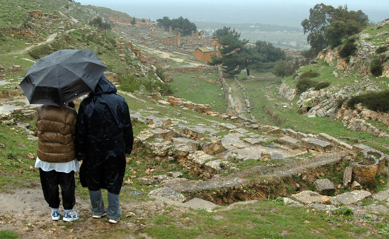 Cyrene (Greek, 3rd/4th century B.C.); looking toward the lower city and Fountain of Apollo Cyrene, settled by Greeks in the 7th century B.C., became one of the largest and most prosperous cities of the ancient world and is designated a World Heritage Site.