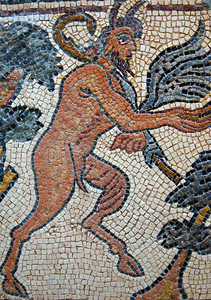 "Qasr Libya, Cyrenaica: Byzantine mosaic of Bacchus, 6th century A.D. This is one of a collection of well-preserved mosaics unearthed from a Byzantine basilica at Qasr (""Castle"") Libya and now displayed in a museum near the site."