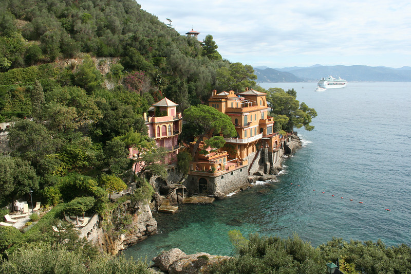 One view of Portofino, a town just outside of the Cinque Terre. Somewhat glitzy (note the cruise ship).