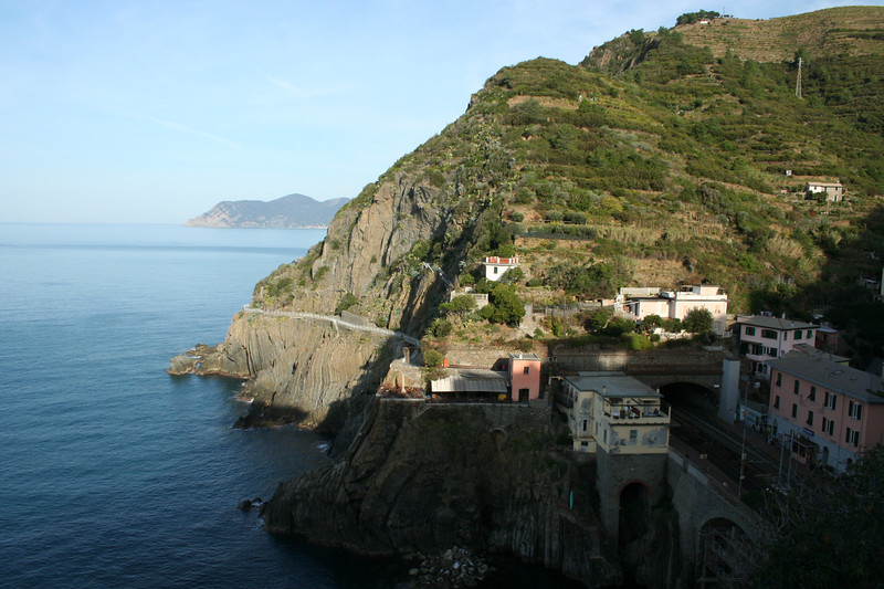 October 1: Start of day 3 in hiking trip: in Riomaggiore, facing the Love Trail.
