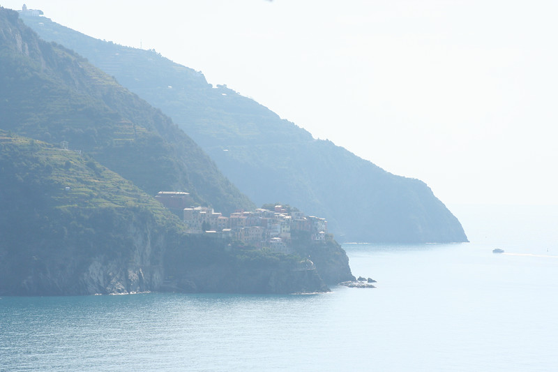 Looking back at Manarola from Corniglia steps.