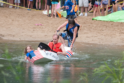Cardboard boat race at Spring Lake