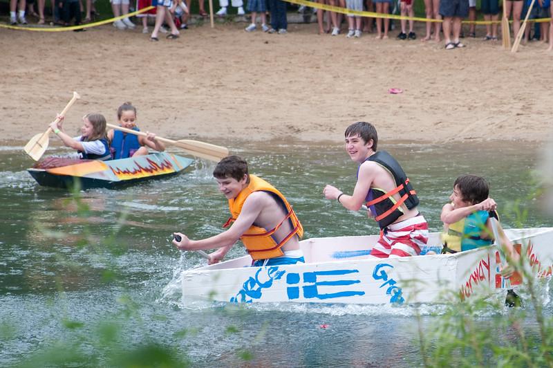 Cardboard boat race at Spring Lake