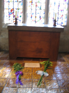 The small oratory or chapel in the Wakefield Tower where it is believed that Henry VI was murdered on May 21, 1471. This picture was taken on May 22, 2007, and the flowere had been placed there on the anniversary of Henry's death by Eton College and King's College Cambridge, both schools which he founded.