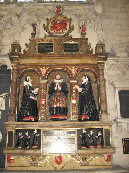 Tomb, York Minster, dated 1611, showing two wives, three sons, and three daughters.