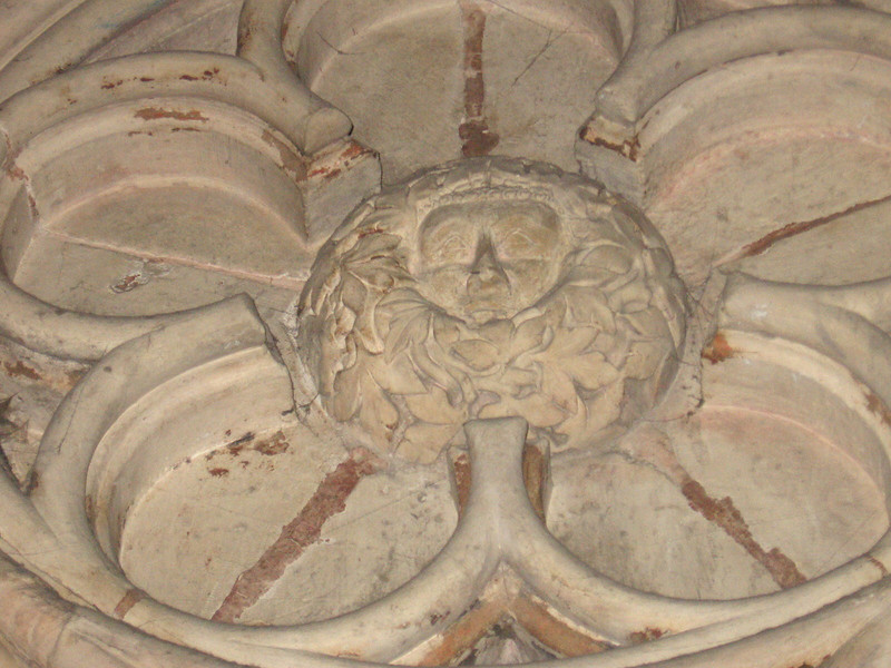 The Green Man, originally a pagan symbol but incorporated into Chistian lore as representing spring and renewal associated with Easter, carving in York Minster