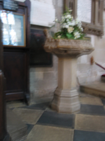 The font at Holy Trinity Church Stratford in which Shakespeare was baptised in April 1564.