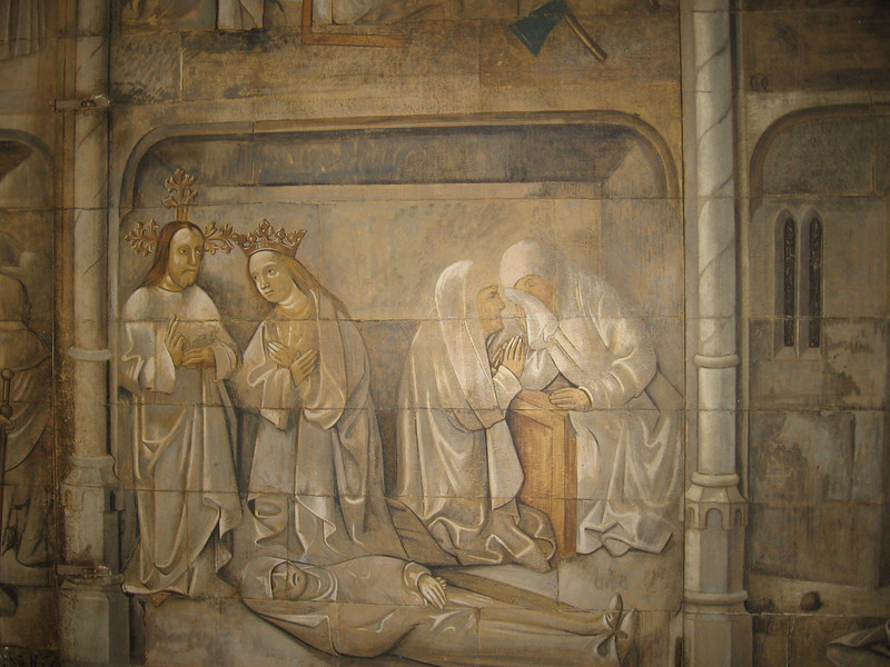 Sixteenth century wall painting showing the legends of the Virgin Mary, The Lady Chapel, Winchester Cathedral.