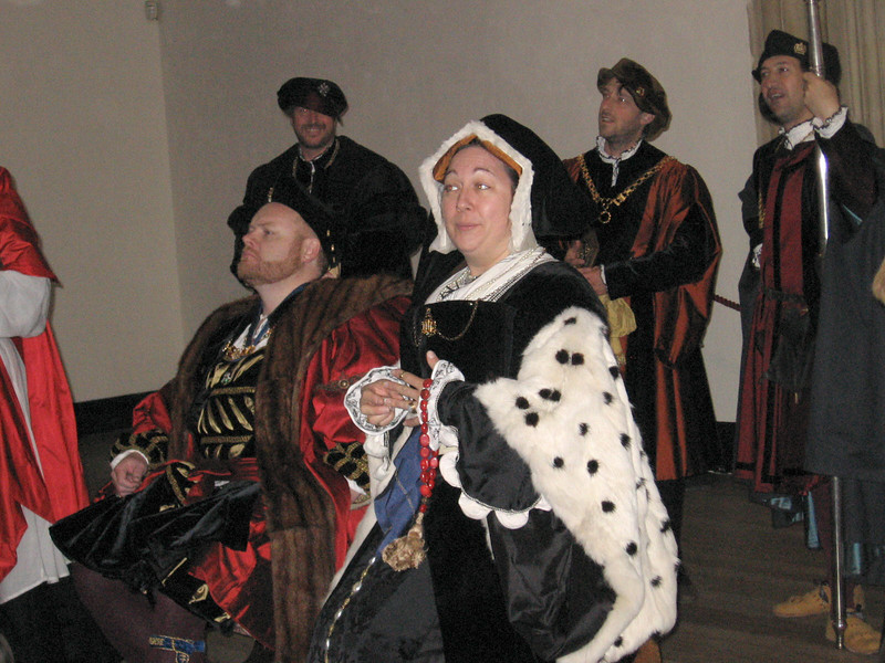 Actors portraying Henry VIII with Sir Francis Bryan (cousin of Anne Boleyn), Thomas More, and Thomas Cromwell in the background.