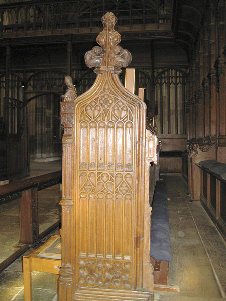 End of choir stall, Winchester Cathedral