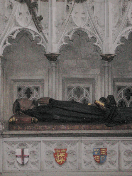 The tomb of the founder Rahere in St. Bartholomew the Great. The effigy is not original but probably dates from the thirteenth or fourteenth century.