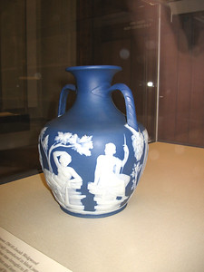 Wedgwood's copy of thee Portland Vase ca 1791. The original was ca 1st century BC/AD. It was done in cobalt, coated in white, and the white carved away.