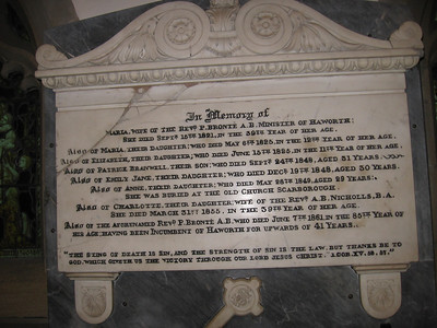 Bronte Plaque, Haworth Parish Church in memory of Maria (1821) and Samuel Bronte (1861) and their children Maria (1825), Elizabeth (1825), Patrick Branwell (1848), Emily Jane (1848), Anne (1849, and Charlotte, wife of Rev. B. Nicholls (1855). All except for Anne, who was buried at Scarborough, were buried here.