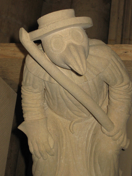 """Grotesque stoe carving """"The Plague Doctor"""", York Minster"""
