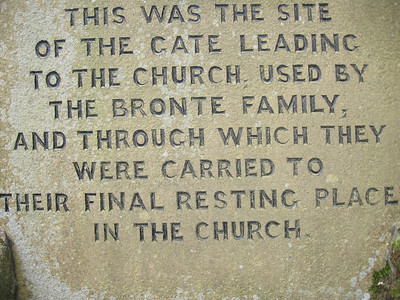Plaque marking the site of the gate between the Bronte Parsonage and the Haworth Parish Church.