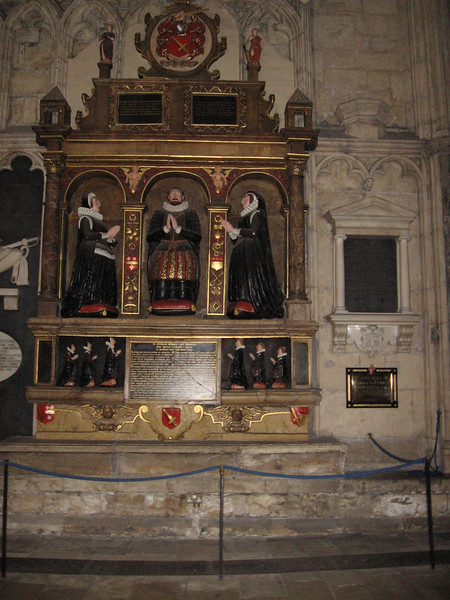 Tomb of William Gee, member of the Council of the North, dated 1611. Depicted on his tomb are his two wives, three sons, and three daughters.