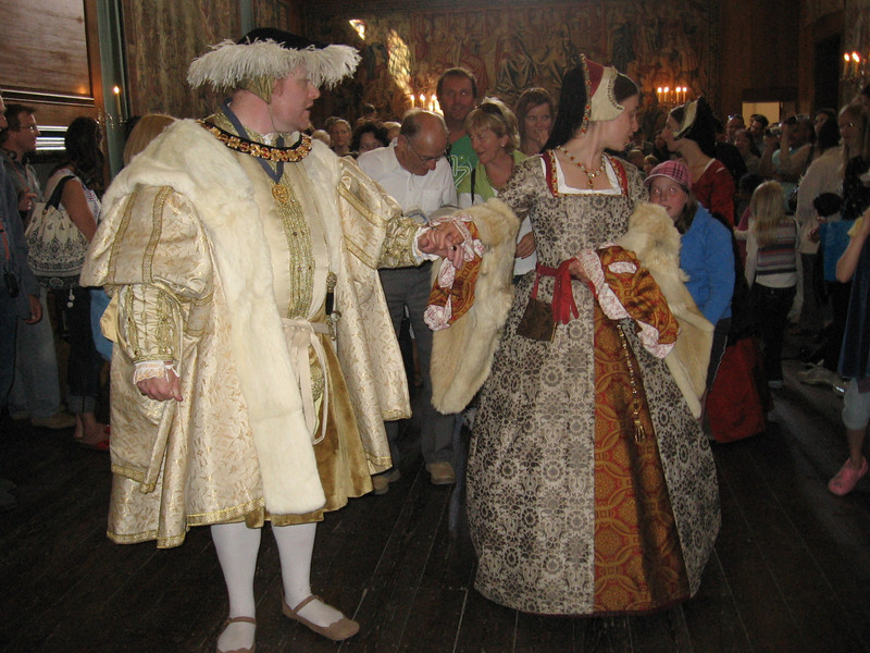 Actors portraying Henry VIII and Catherine Parr on their wedding day, Hampton Court Palace