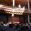 The Globe Theater, London, before a production of Macbeth. The effect of the canopy over the audience was supposed to be of disembodied heads.