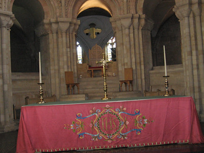 The High Altar with the Bishop's Throne--Norwich Cathedral. Norwich is the only cathedral in Northern Europe to have kept its throne in the original position behind the High Altar. The throne incorporates two pieces of stone believed to date back to at least the eighth century.