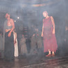 The cast of Macbeth (Macbeth and one of the Wierd Sisters in the foreground). The fog was part of the effect.