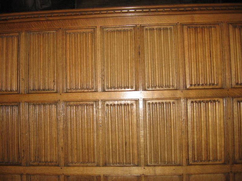 Linen fold paneling in Wolsey's Closet, Hampton Court Palace.