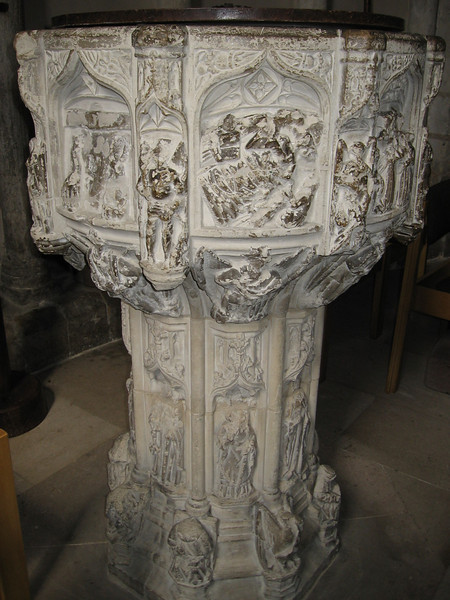 Baptismal font showing the seven Sacraments,1480--Norwich Cathedral