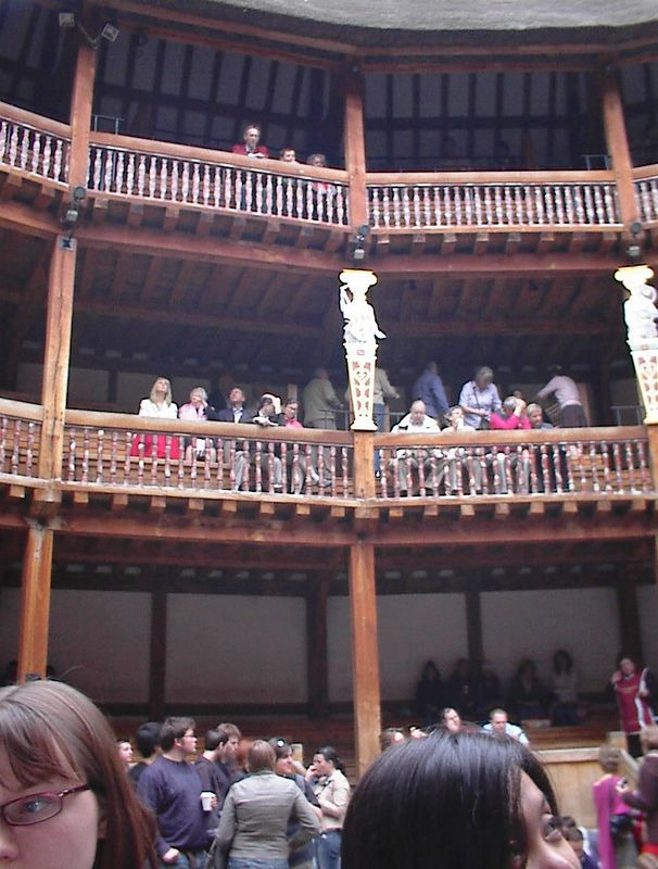The galleries at the Globe from the perspective of a groundling