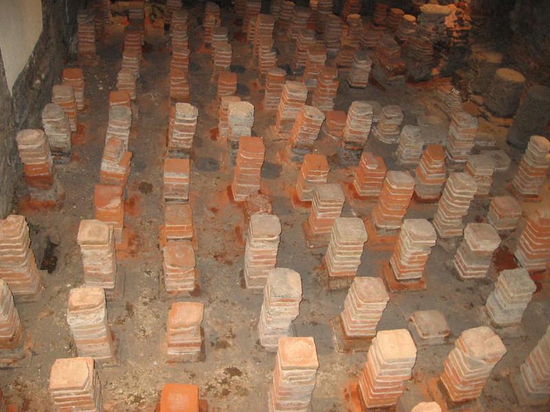 Remains of underfloor heating system, Roman Baths, Bath
