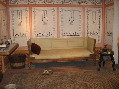 Recreation of Romano-Britain dining room, Museum of London