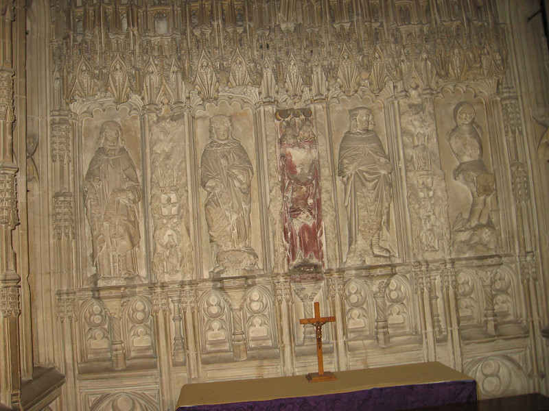 Figures in the Chantry Chapel where Prince Arthur is buried defaced during visits of commissioners in the reign of Edward VI, Worcester Cathedral