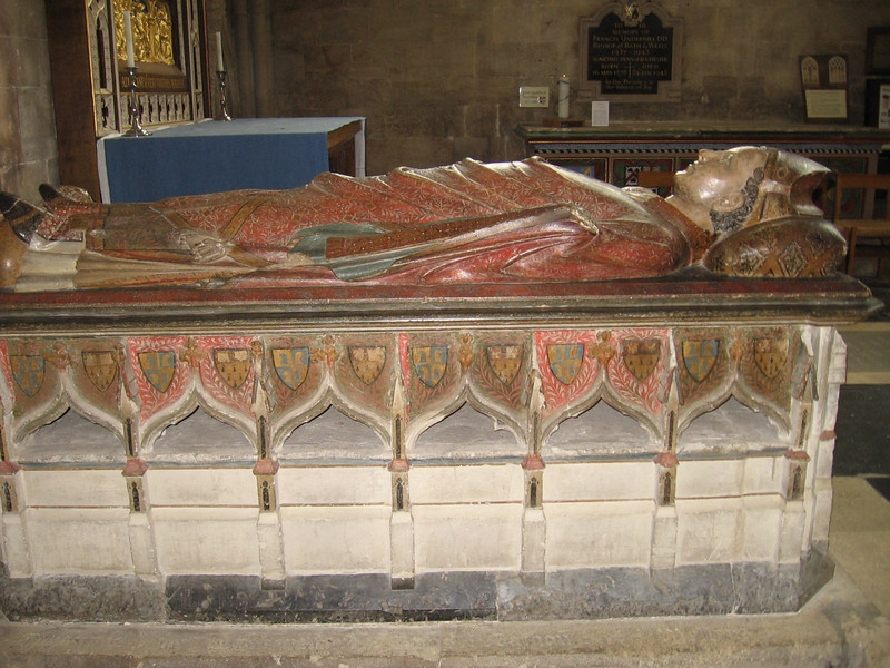 tomb of John Drokensford, Bishop of Bath and Wells 1309-1329, reasurer of England, Wells Cathedral