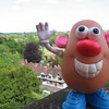 Mr. Potato Head on the walls of Warwick Castle