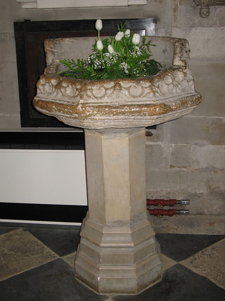 Baptismal font, Holy Trinity Church, Stratford-on-Avon (probably used in the baptism of Shakespeare in April 1564)