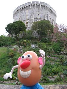 Sir Potato Head greeting visitors at Windsor castle.