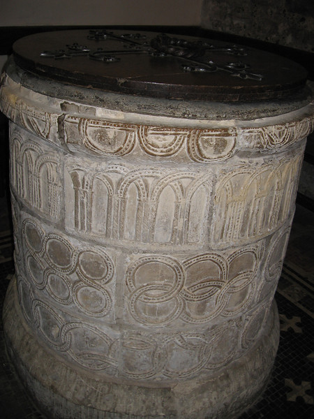 Baptismal font, St. Martins' Church, Canterbury