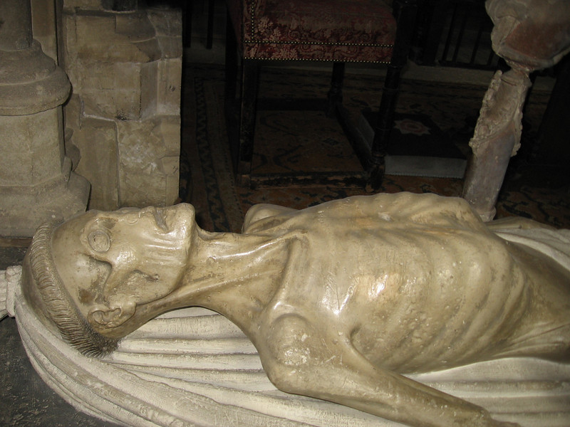 Bottom part of tomb of Thomas Bekyton (Bishop of Bath and Weells 143-1464) Wells Cathedral. This was to remind viewers that all men, even bishops, would ultimately come to this.