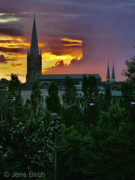 Linköpings domkyrka en Julikväll, Linköping cathedral - a night in July.