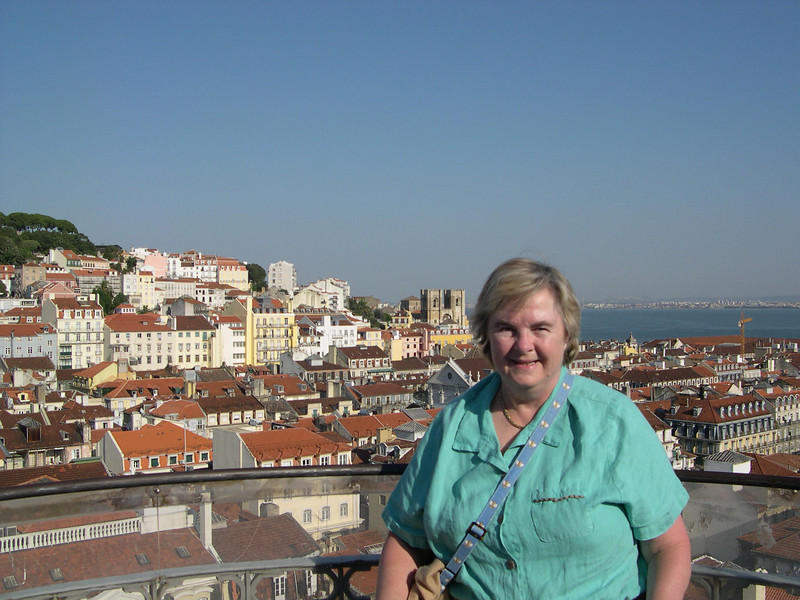 Susan at the top of the Elevador de Santa Justa, looking over the main commercial section of Lisbon.  This part of the city was completely destroyed in the major earthquake and tsunami that struck Lisbon in 1755 and was rebuilt according to a strict urban planning design.