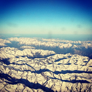 Over snow-covered Alps.