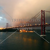 25th of April Bridge connecting the city of Lisbon and municipality of Almada in Portugal.