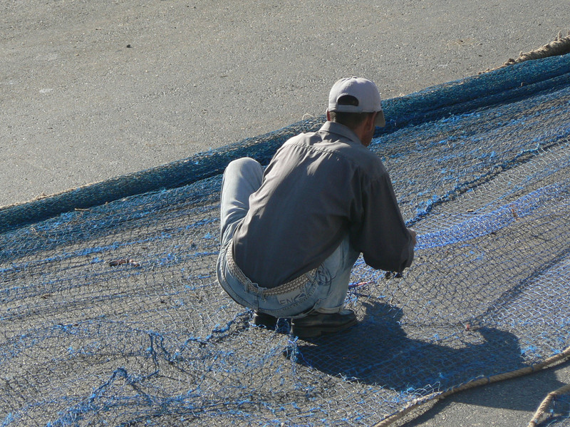 The fishing nets were blue, too