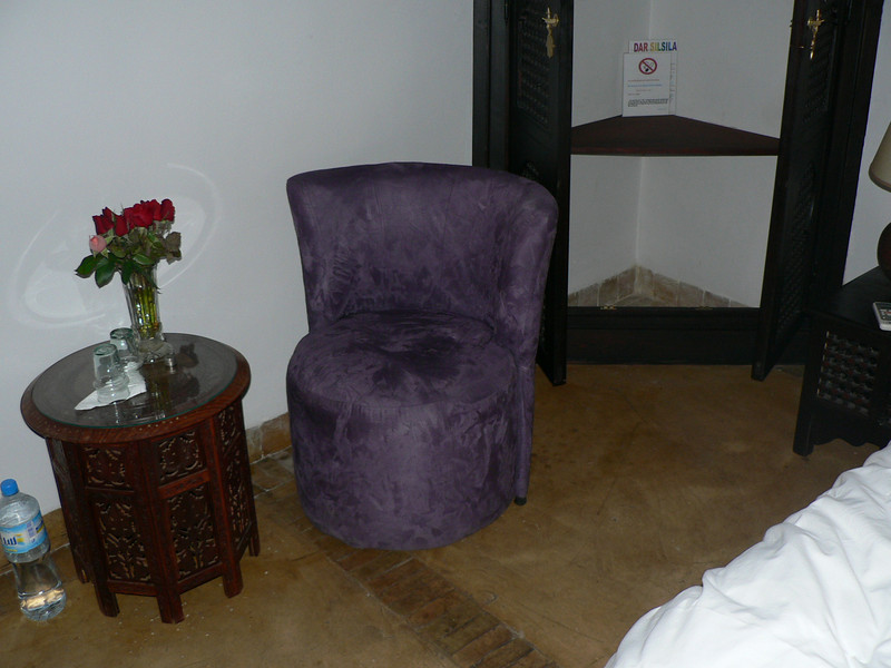the storage space and arm chair in my miserable room at the Dar Silsila