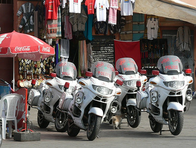 The Djemaa el-Fna - police transport