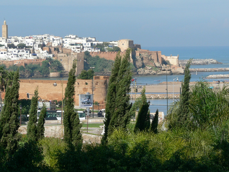 Rabat's medina and kasbah seen from the Hassan Tower