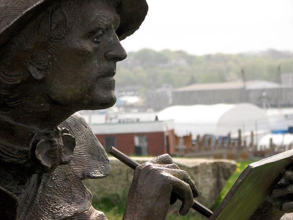 Statue of artist, Fitz Hugh Lane, in Gloucester
