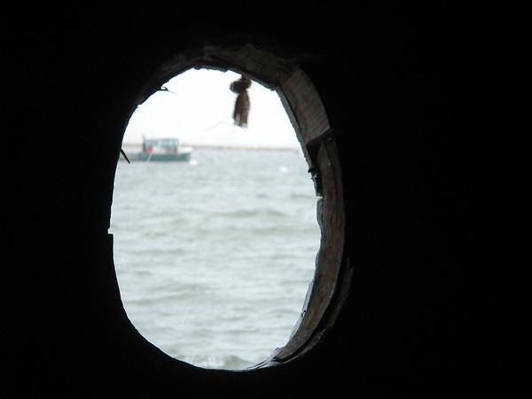 Out a porthole on the Mayflower II